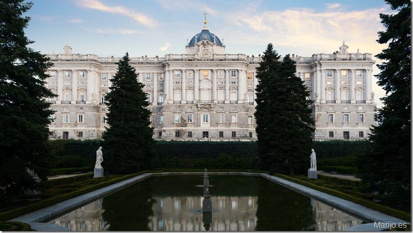Madrid landmark at night. Landscape of Royal Palace and Sabatini gardensat dusk. Historical building at Madrid, Spain.